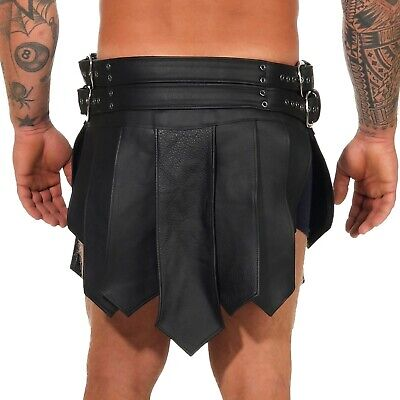 XS-XXXL*Gladiator Skirt Kilt  Schwarz 2 Gürtel & Schnallen Echt Leder Larp NEU 3