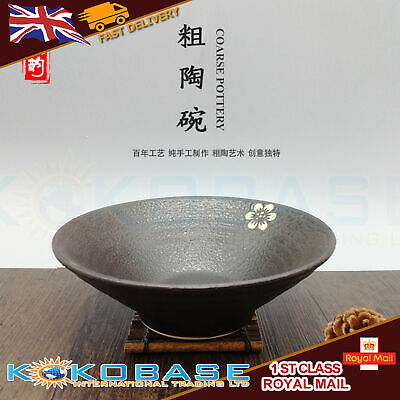 """1x Black Oriental Chinese Japanese Ramen Noodle Bowls Rice Bowls Dishes 8"""" 3"""
