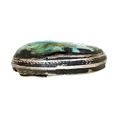 (2559) Antique Tibetan Turquoise Set in Silver and Copper. Large size 6