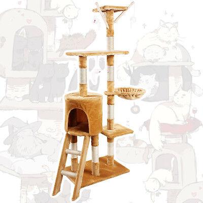 🐈JL Comfurni Cat Tree Sisal Scratching Post Kitten Scratcher Nest Tower High 5