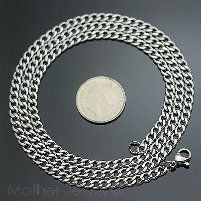 50Cm Silver 316L Stainless Steel 4Mm Curb Chain Mens Womens Unisex Necklace 4