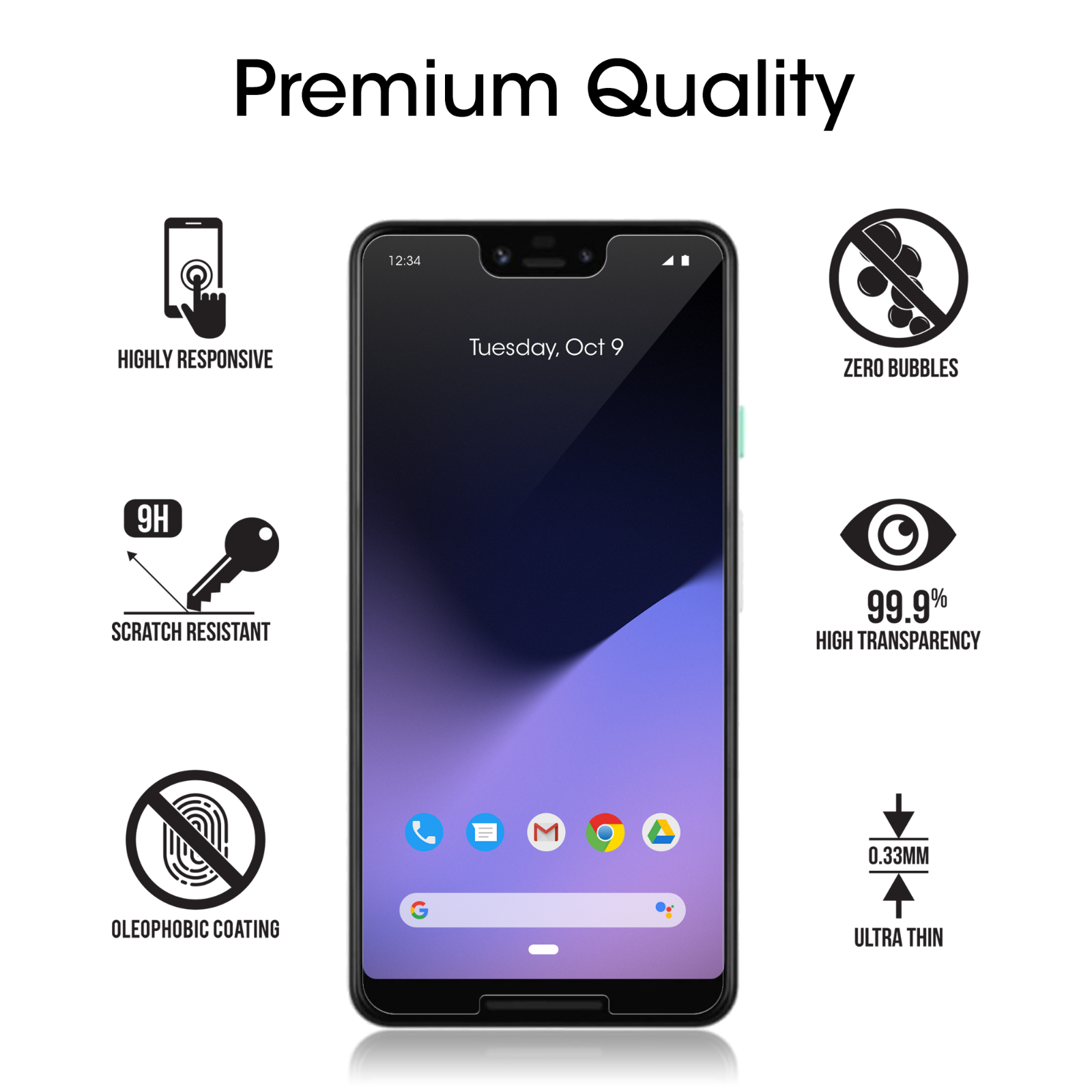 Google Pixel 3 XL amFilm Case Friendly Tempered Glass Screen Protector (3 Pack) 4