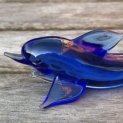 "VTG Italian Murano Art Glass Miniature Animal Figurine Blue Fish Dolphin 3 1/4""L 3"