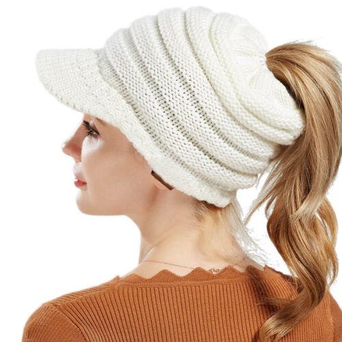 Winter Women Stretch Knit Hat Messy Bun Ponytail Beanie Holey Warm Hats Gifts 3