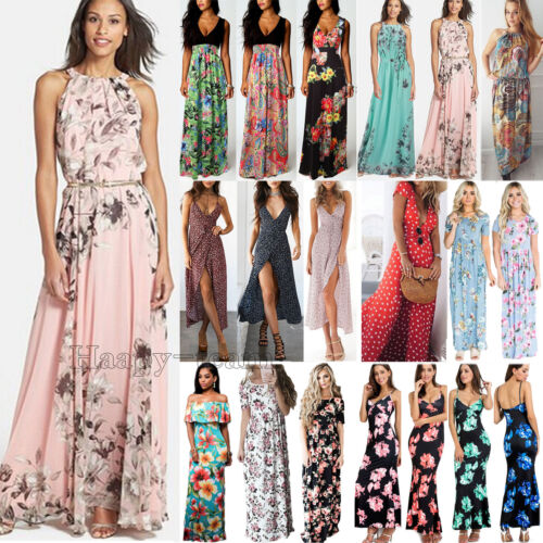 Women Boho Floral Long Maxi Dress Party Evening Summer Beach Sundress Plus Size