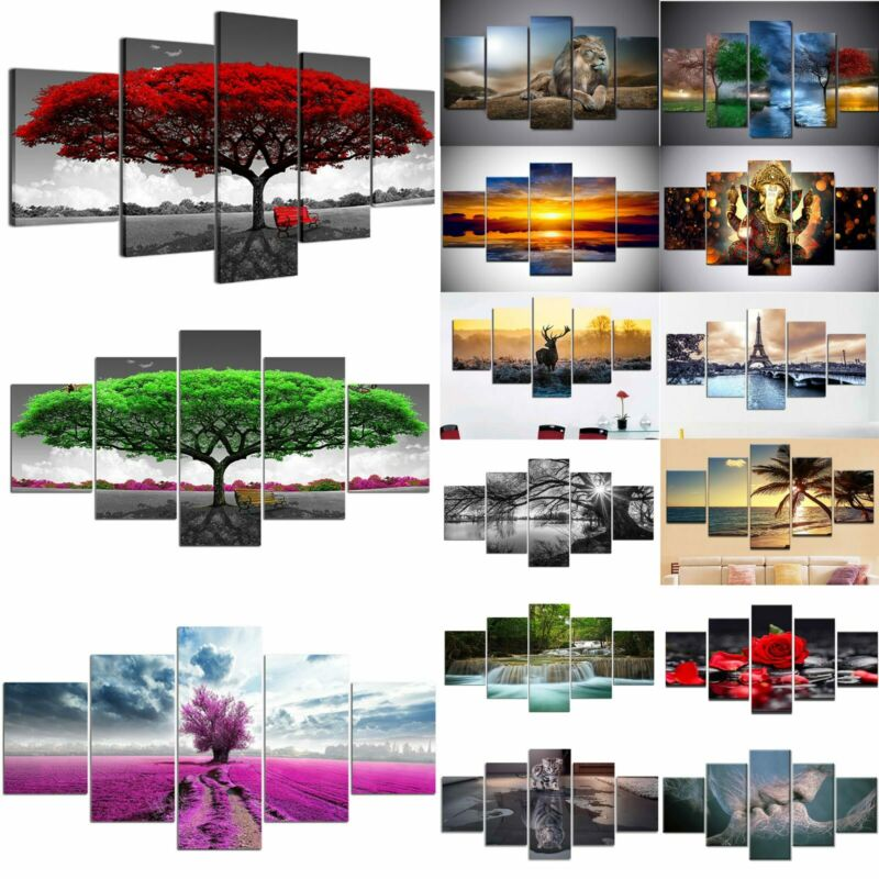 5 Panels Unframed Modern Canvas Art Oil Painting Picture Room Wall Hanging Decor 2