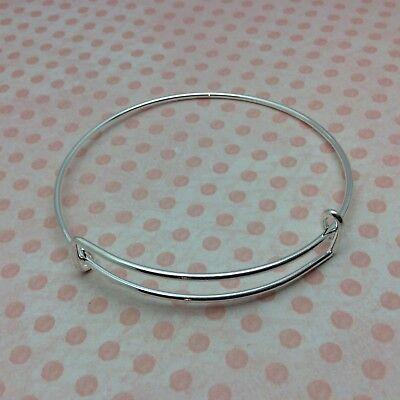 10 x Silver Expandable Wire Bangle Blanks Charm Bracelet Jewellery 70mm diameter 2