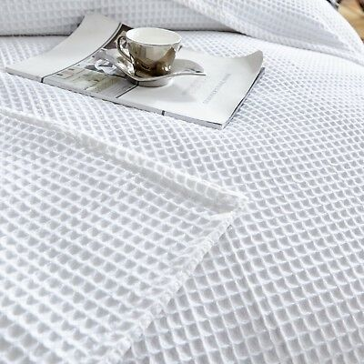 New Premium 100% Cotton 350gsm Large Waffle Blanket Bedspread Bed Throw Rug 5