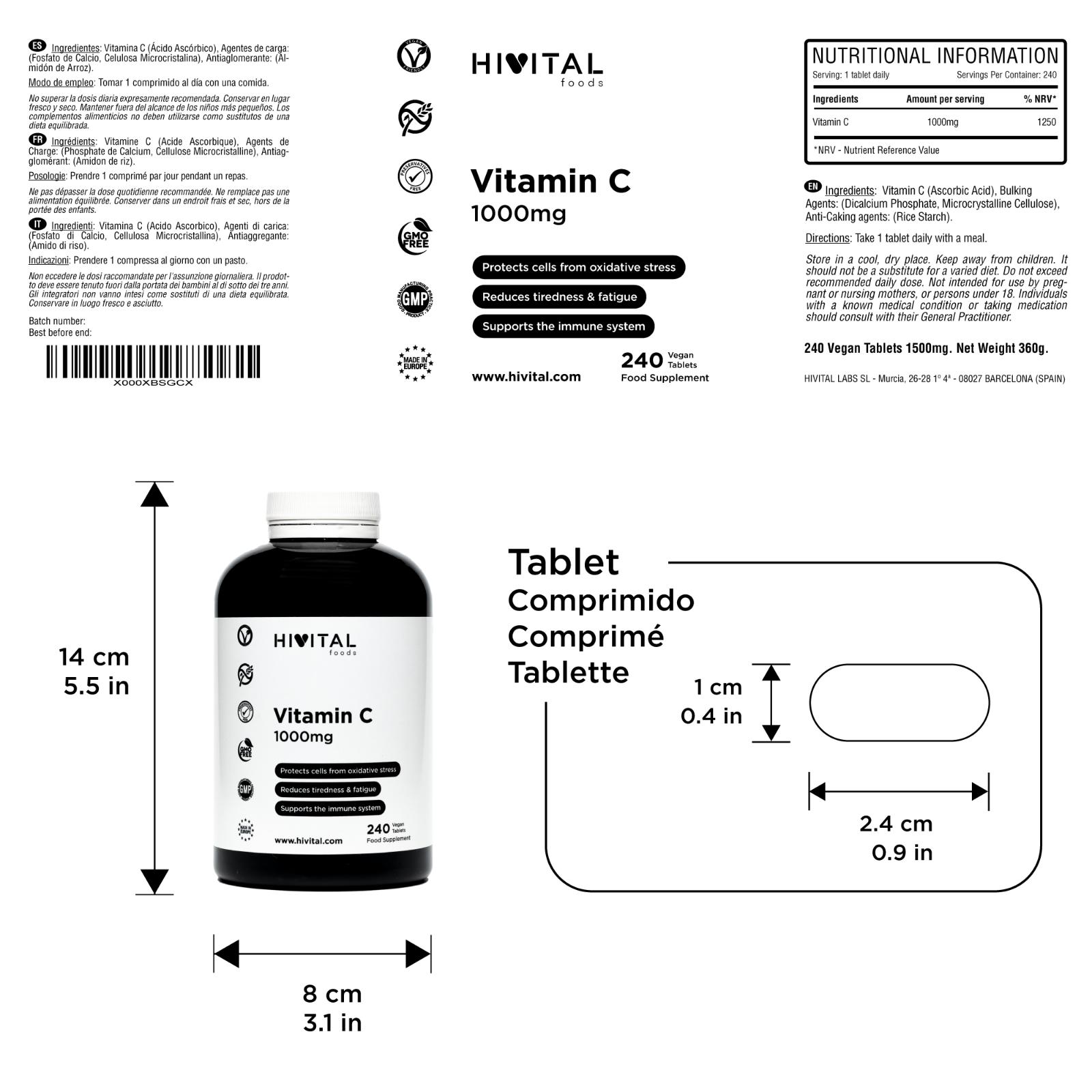 Vitamina C 1000 mg | 240 comprimidos veganos (Suministro para 8 meses) 3