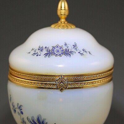 Antique French white opaline crystal glass Trinket Box Casket hinged lid ormolu 6