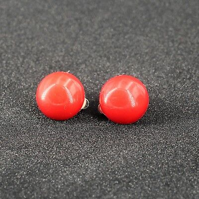 Boucles d'oreilles CLIP ON Argenté Demi Perle Rouge Orange Leger Retro J13 2