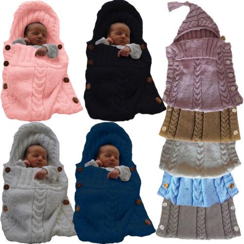 Newborn Baby Infant Cable Knit Blanket Swaddle Wrap Swaddling Sleeping Bag Warm