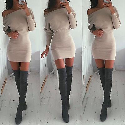 donna manica lunga maglia aderente maglione vestito inverno Festa Mini
