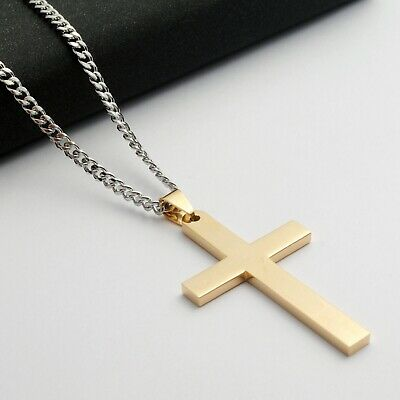 Stainless Steel Plain Silver Jesus Cross Crucifix Pendant Necklace Mens & Womens 8