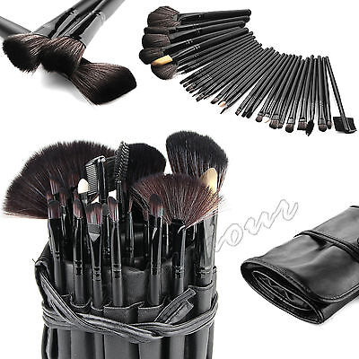 Professional 32 Pcs Kabuki Make Up Brush Set and Cosmetic Brushes Case Black 2