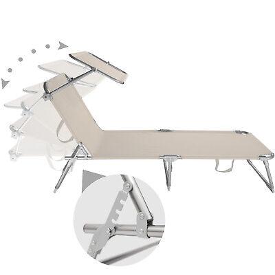 Chaise longue de jardin pliante transat bain de soleil + pare soleil beige 3