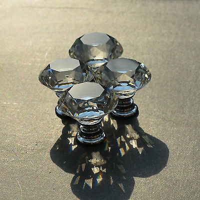 10 zinc alloy clear glass crystal sparkle cabinet drawer door pulls knobs handle 5