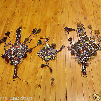 Three 1'1''x2'5''Antique 1900-1930s Tribal Decorative Ceremonial Wall Hanging 2