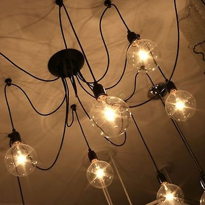 industrial light modern vintage diy chandelier ceiling spider pendant retro lamp. Black Bedroom Furniture Sets. Home Design Ideas