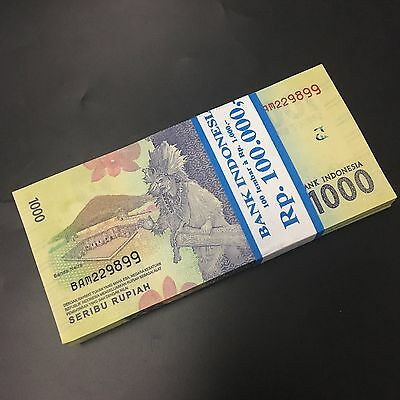 Bundle Lot 100 PCS, Indonesia 1000 Rupiah, 2016, P-NEW, UNC>New Design 2