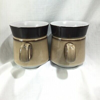 "Pair of Denby Country Cuisine Mugs Coffee Cup Brown  Tan 3 3/4"" Mid Century Look 2"
