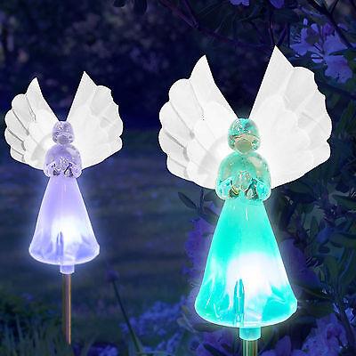 Set of 2 Solar Power Angel Fiber Optic Wings Garden Stake Color Change LED Light 2