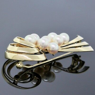 Mikimoto Brooch 14K Yellow Gold ~5.7MM White Pearl Ribbon Vintage Pin 5