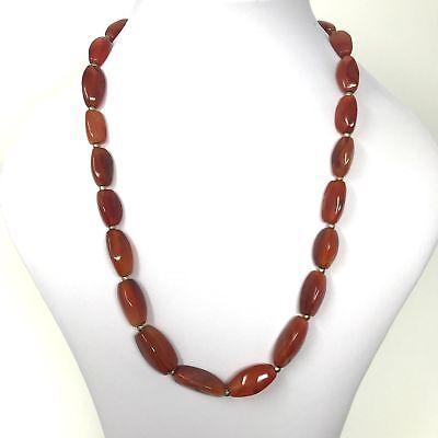 (eVB946)  Tibet : Old Carnelian Beads Necklace (60cm) 8