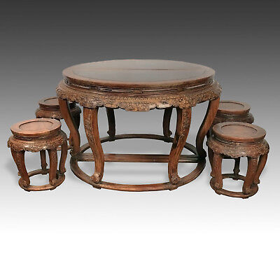 Very Rare Chinese Fine Pair Huanghuali Demilune Tables & Four Stools Hubei China 12