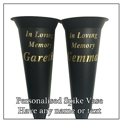 Spike Flower Vase, Personalised Memorial Silver & Gold Text Flute Grave Tribute 5