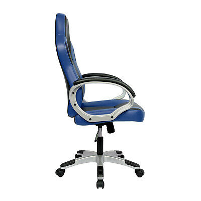 Executive Racing Gaming Office Chair PU Leather Swivel Sport Computer Desk Blue 4