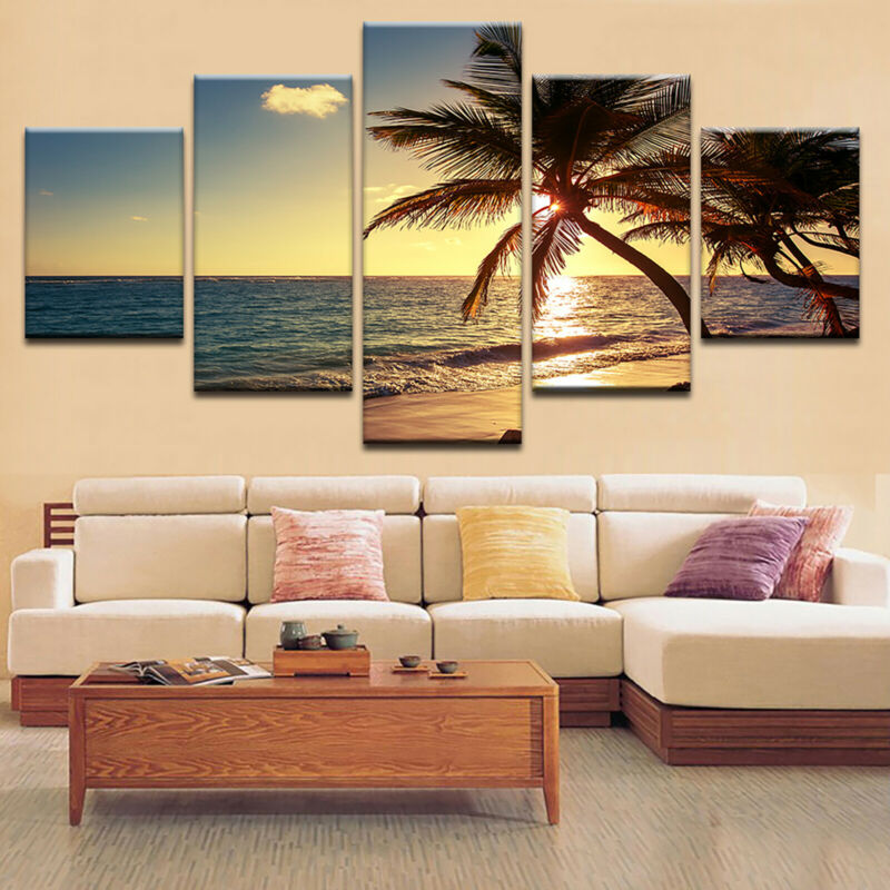 5 Panels Unframed Modern Canvas Art Oil Painting Picture Room Wall Hanging Decor 11
