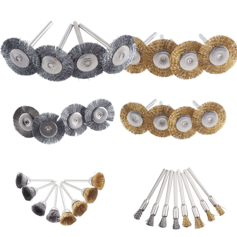 32Pcs Brass Steel Wire Brush Polishing Wheels Full Kit for Dremel Rotary Tools 3