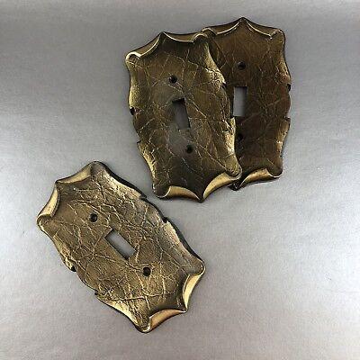 Set Of 3 Vintage Amerock Decorative Metal Light Switch Plate Covers Brass Black 2