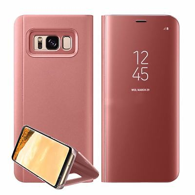 New Samsung Galaxy S7 S8+ S9 + Smart View Mirror Leather Flip Stand Case Cover 11