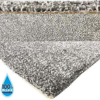 Bleach Cleanable Soft Saxony SILVER Grey Carpet Hessian Back FAST FREE DELIVERY 2