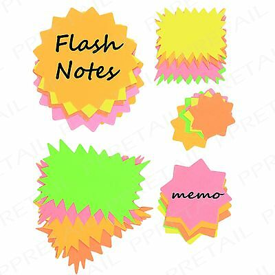 100x Fluorescent Price Display Cards ~ASSORTED SHAPES & SIZES~ School Neon Stars 2