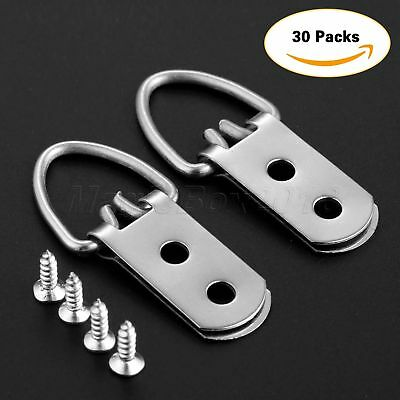 30/60Pcs 53*23mm Heavy Duty D-Ring Picture Hangers Frame Hanging 2 Hole + Screws 3