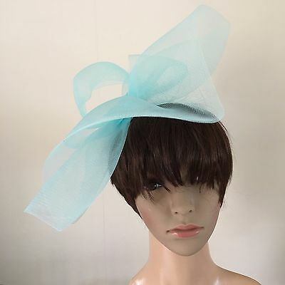duck egg light pale baby blue feather headband fascinator millinery wedding 2