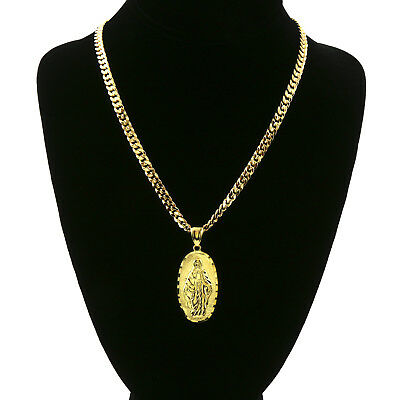 """Mens 18k Gold Plated  Oval Guadalupe Pendant 5mm 24"""" Cuban Necklace Chain(H) 5"""