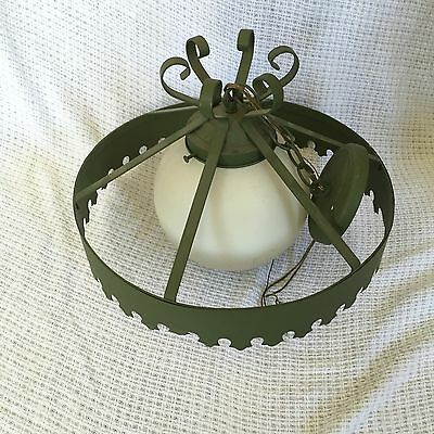 Vintage 60s Cast Iron Green Chandelier Chain Hanging Light Complete with Globe 2