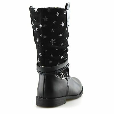 Girls Kids Childrens Zip Up School Winter Casual Mid Calf Biker Boots Shoes Size 4