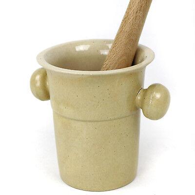 Mörser mit Stößel - Gewürzmörser aus Keramik m. Holzstößel rustikale Keramik 2