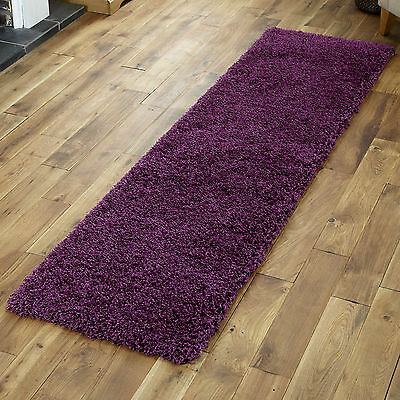 Small To Extra Large Thick 5Cm High Pile Non-Shed Aubergine Shaggy Purple Rug 4