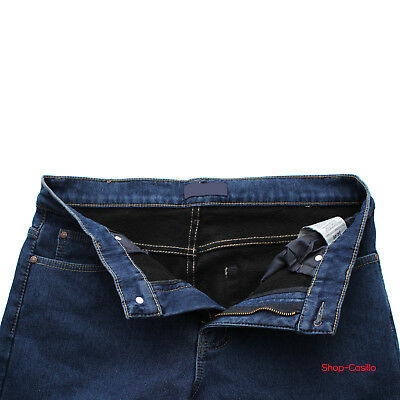 Jeans Uomo Regular Fit Felpato Pantalone Vita Alta Classico Invernale Imbottito