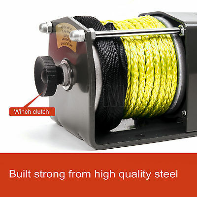 12V Wireless 3000LBS 1361KGS Electric Winch Synthetic Rope Yellow ATV 4WD BOAT 4
