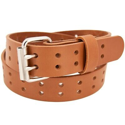 Men's Double Prong Full Grain Heavy-Duty Leather Belt 2 Hole - USA Made By Amish 5