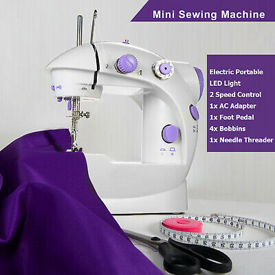 Portable Electric Sewing Machine Overlock 2 Speed LED Mains Powered Foot Pedal 12