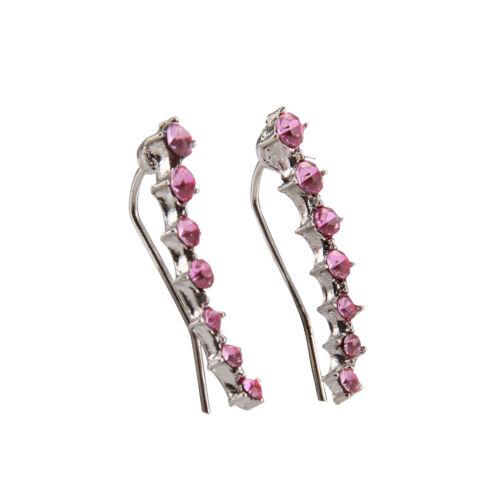 Charm Crystal 925 Sterling Silver Stud Hoop Earrings Fashion Women UK 3