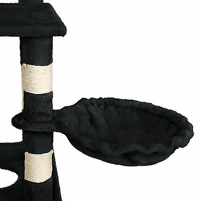 Arbre à chat griffoir grattoir geant sisal avec hamac lit 141 cm hauteur noir 4